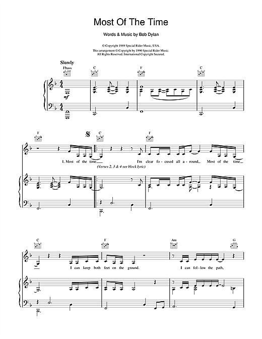 Bob Dylan Most Of The Time (from High Fidelity) sheet music notes and chords. Download Printable PDF.