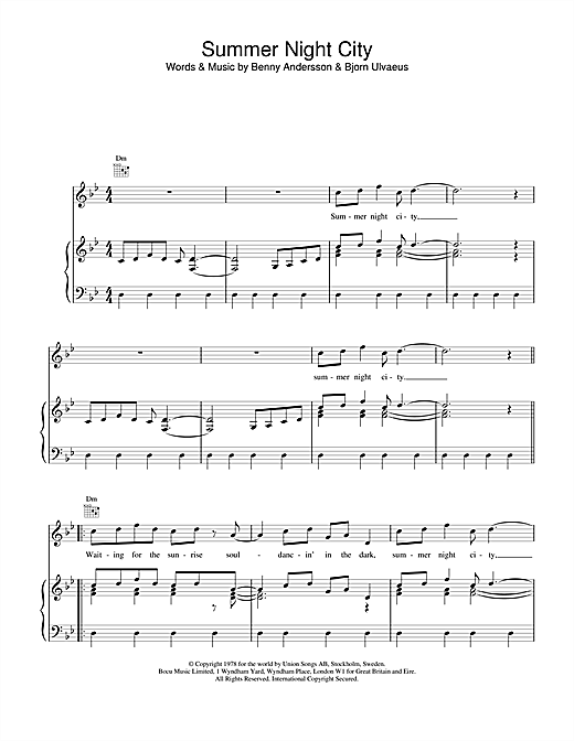 ABBA Summer Night City sheet music notes and chords. Download Printable PDF.