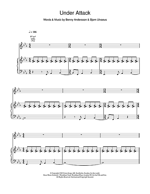 ABBA Under Attack sheet music notes and chords. Download Printable PDF.