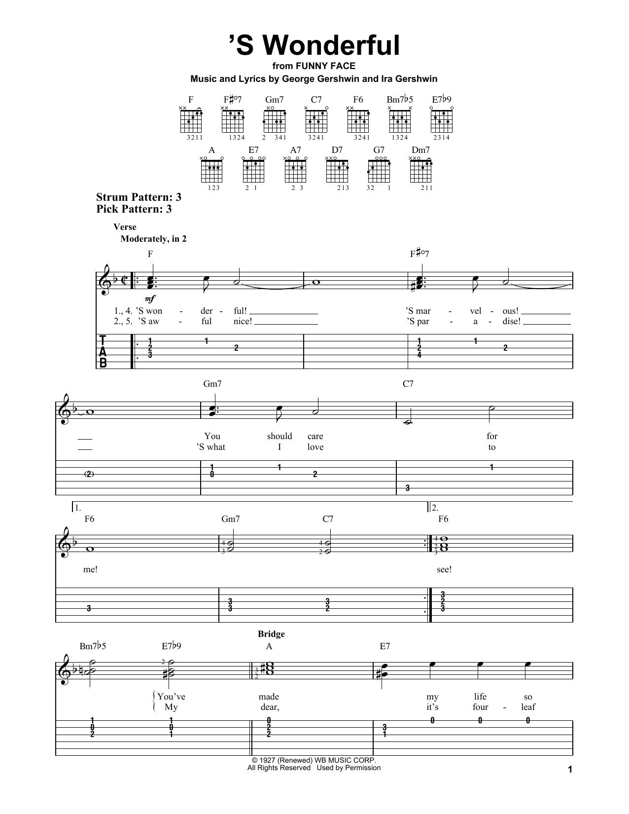 Ira Gershwin 'S Wonderful sheet music notes and chords. Download Printable PDF.