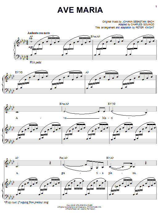 Carpenters Ave Maria sheet music notes and chords. Download Printable PDF.