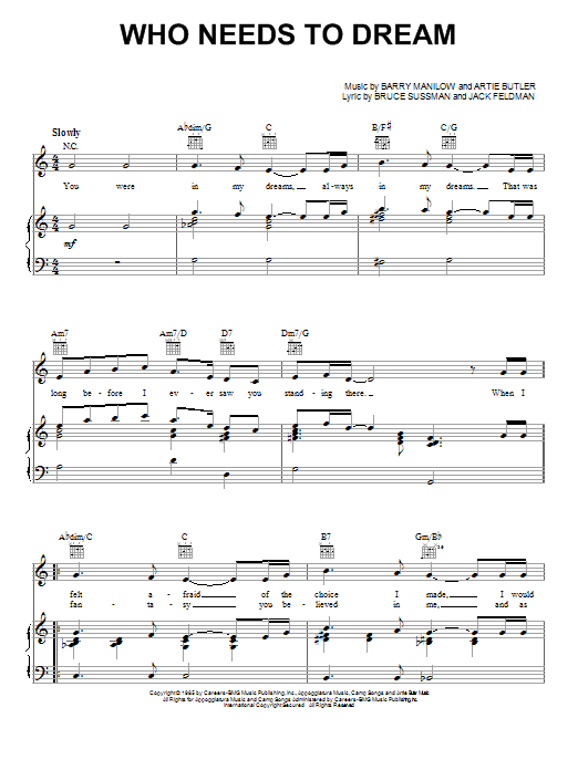 Barry Manilow Who Needs To Dream sheet music notes and chords. Download Printable PDF.