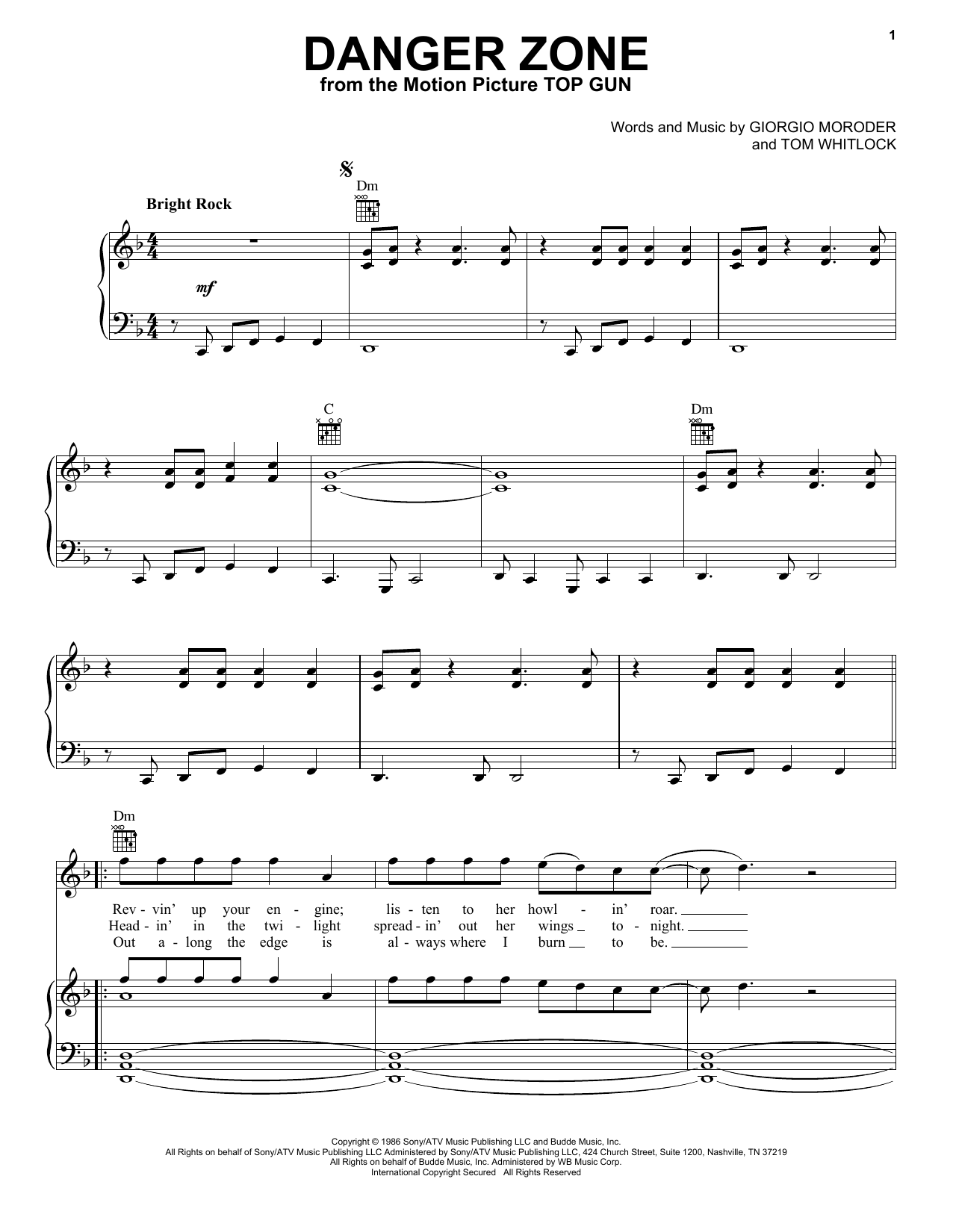Kenny Loggins Danger Zone (from Top Gun) sheet music notes and chords. Download Printable PDF.