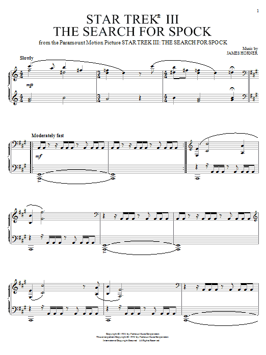 James Horner Star Trek(R) III - The Search For Spock sheet music notes and chords. Download Printable PDF.