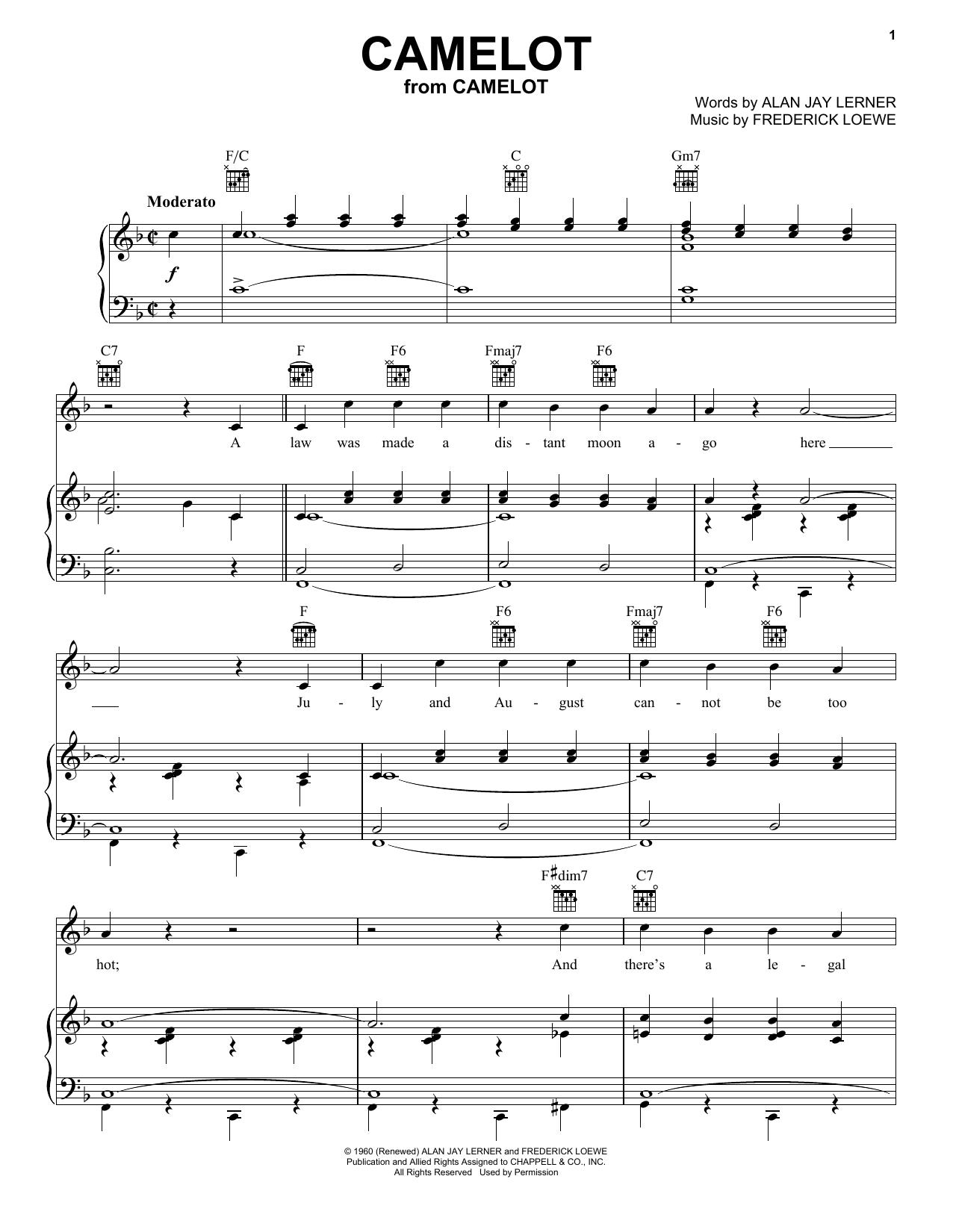 Richard Burton Camelot sheet music notes and chords. Download Printable PDF.
