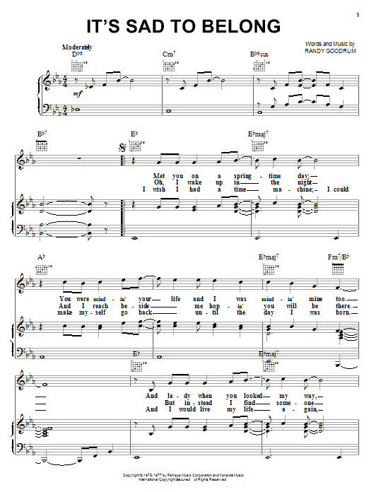 John Ford Coley It's Sad To Belong sheet music notes and chords. Download Printable PDF.