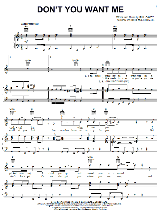 The Human League Don't You Want Me sheet music notes and chords. Download Printable PDF.