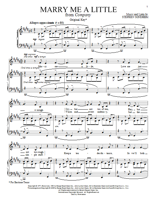 Stephen Sondheim Marry Me A Little sheet music notes and chords. Download Printable PDF.