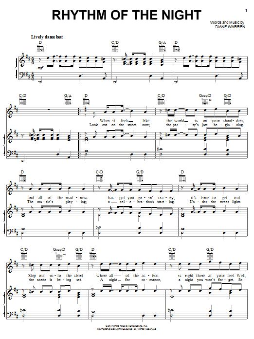 DeBarge Rhythm Of The Night sheet music notes and chords. Download Printable PDF.
