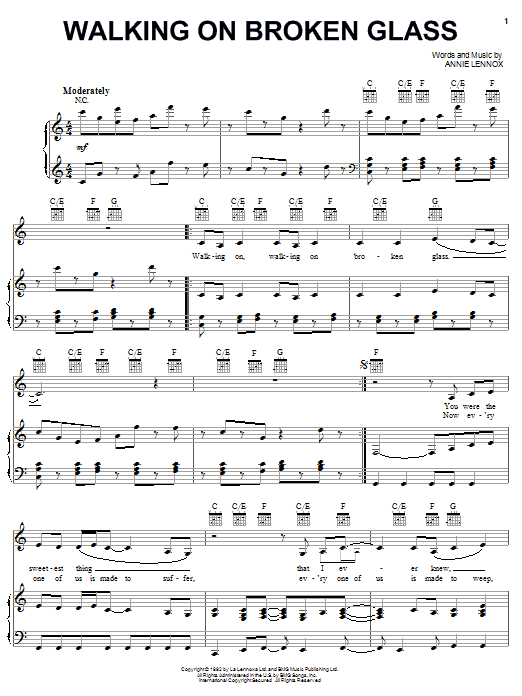 Annie Lennox Walking On Broken Glass sheet music notes and chords. Download Printable PDF.