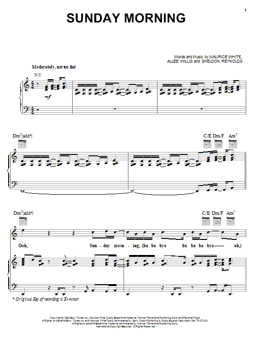 Earth, Wind & Fire Sunday Morning sheet music notes and chords. Download Printable PDF.
