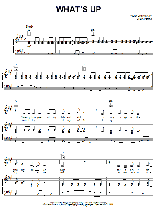4 Non Blondes What's Up sheet music notes and chords. Download Printable PDF.