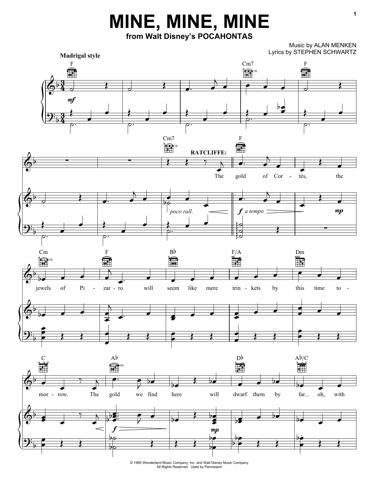 Alan Menken Mine, Mine, Mine sheet music notes and chords. Download Printable PDF.