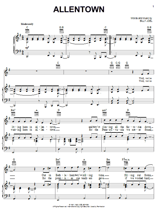 Billy Joel Allentown sheet music notes and chords. Download Printable PDF.