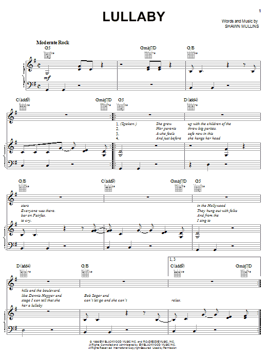 Shawn Mullins Lullaby sheet music notes and chords. Download Printable PDF.