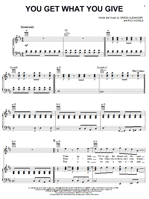 The New Radicals You Get What You Give sheet music notes and chords. Download Printable PDF.