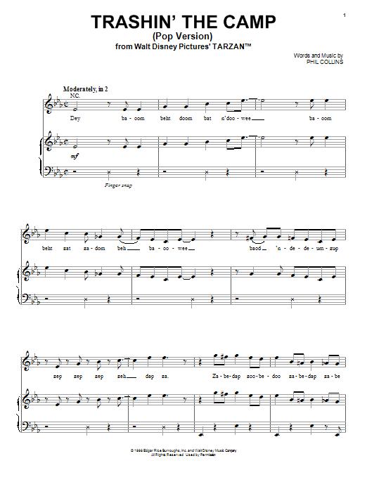 Phil Collins Desbaratando El Campamento (Pop Version) sheet music notes and chords. Download Printable PDF.