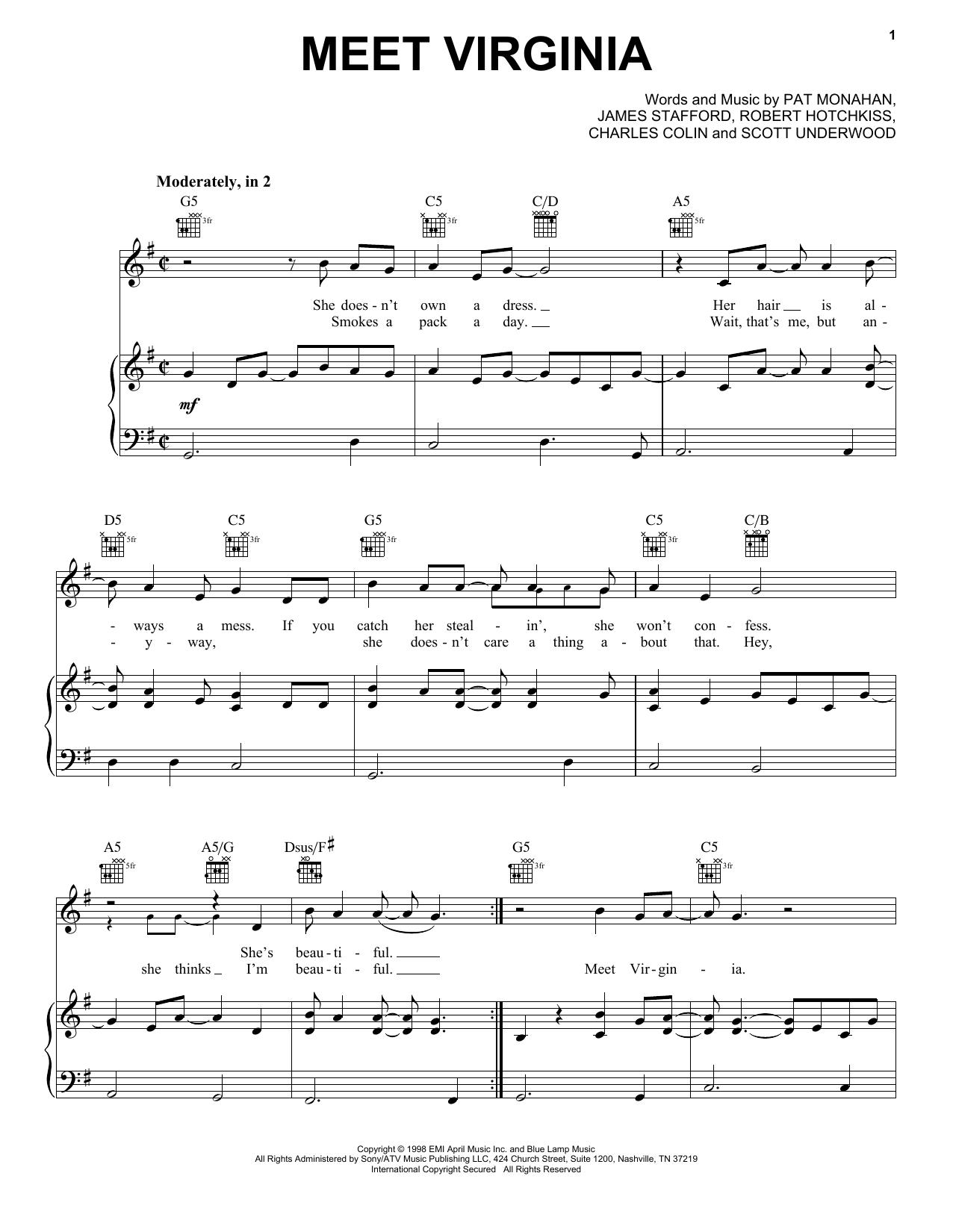 Train Meet Virginia sheet music notes and chords. Download Printable PDF.