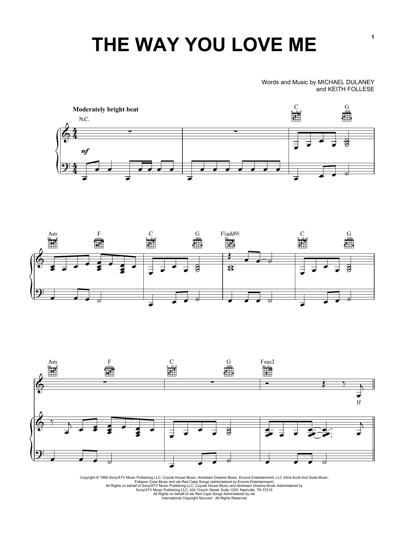 Faith Hill The Way You Love Me sheet music notes and chords. Download Printable PDF.