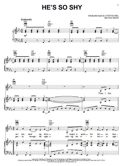 The Pointer Sisters He's So Shy sheet music notes and chords. Download Printable PDF.