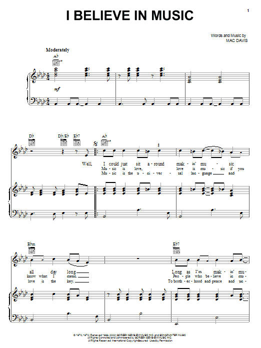 Mac Davis I Believe In Music sheet music notes and chords. Download Printable PDF.