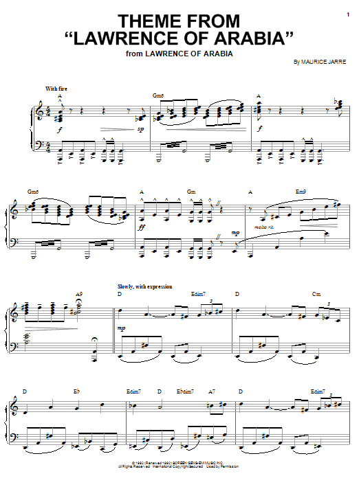 Maurice Jarre Theme from Lawrence Of Arabia sheet music notes and chords. Download Printable PDF.