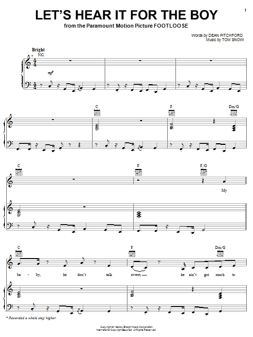 Deniece Williams Let's Hear It For The Boy sheet music notes and chords. Download Printable PDF.