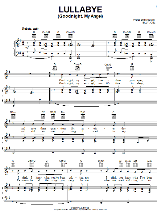 Billy Joel Lullabye (Goodnight, My Angel) sheet music notes and chords. Download Printable PDF.