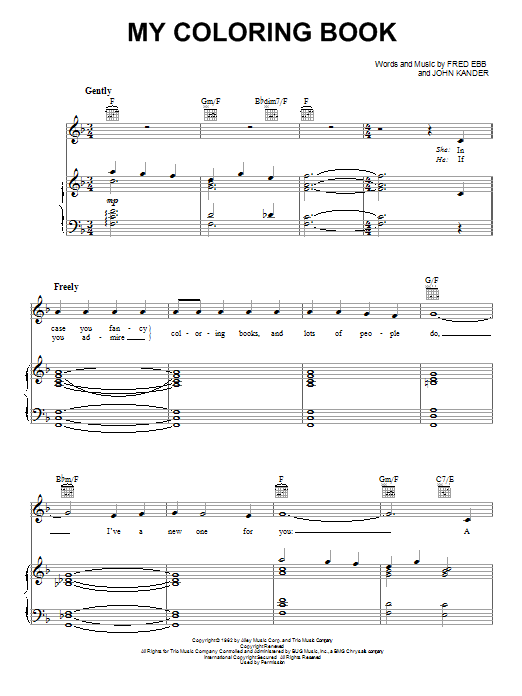 Fred Ebb My Coloring Book sheet music notes and chords. Download Printable PDF.