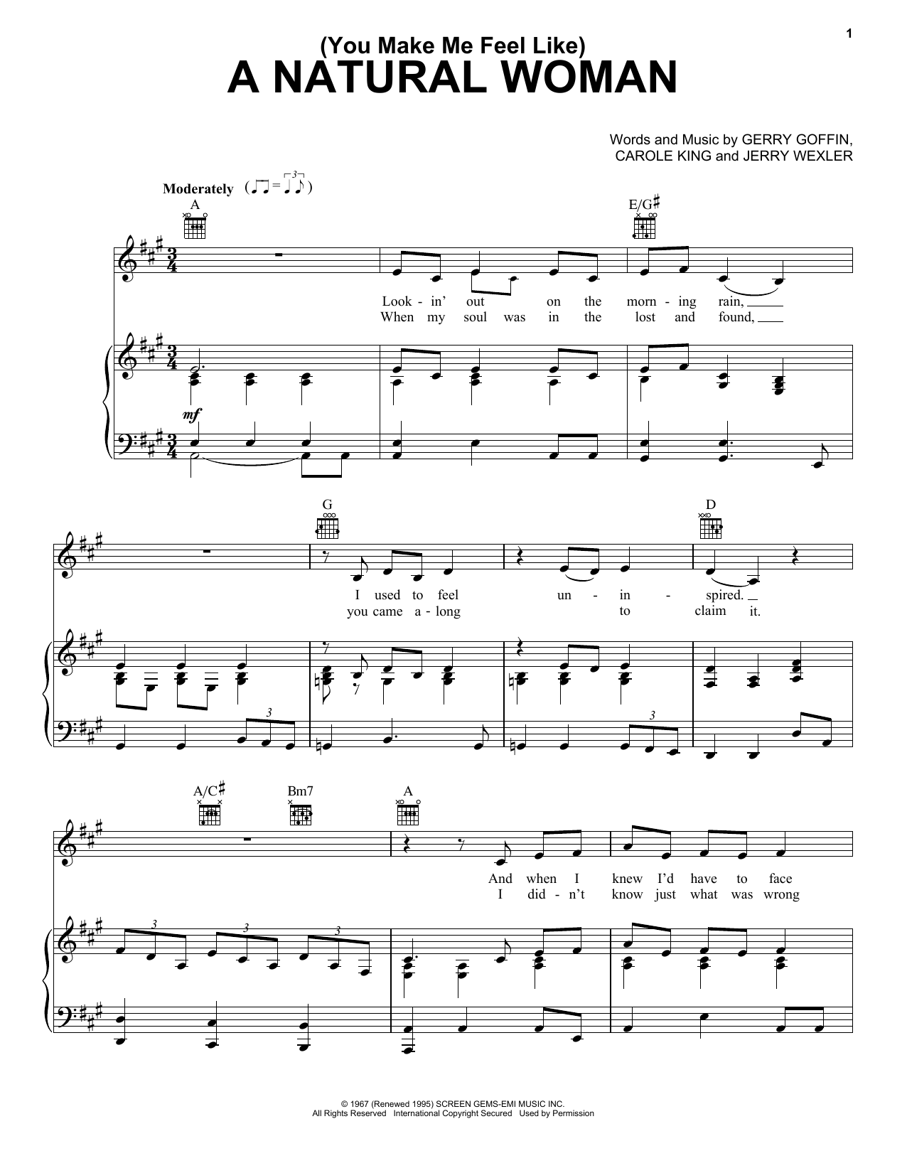 Aretha Franklin (You Make Me Feel Like) A Natural Woman sheet music notes and chords. Download Printable PDF.