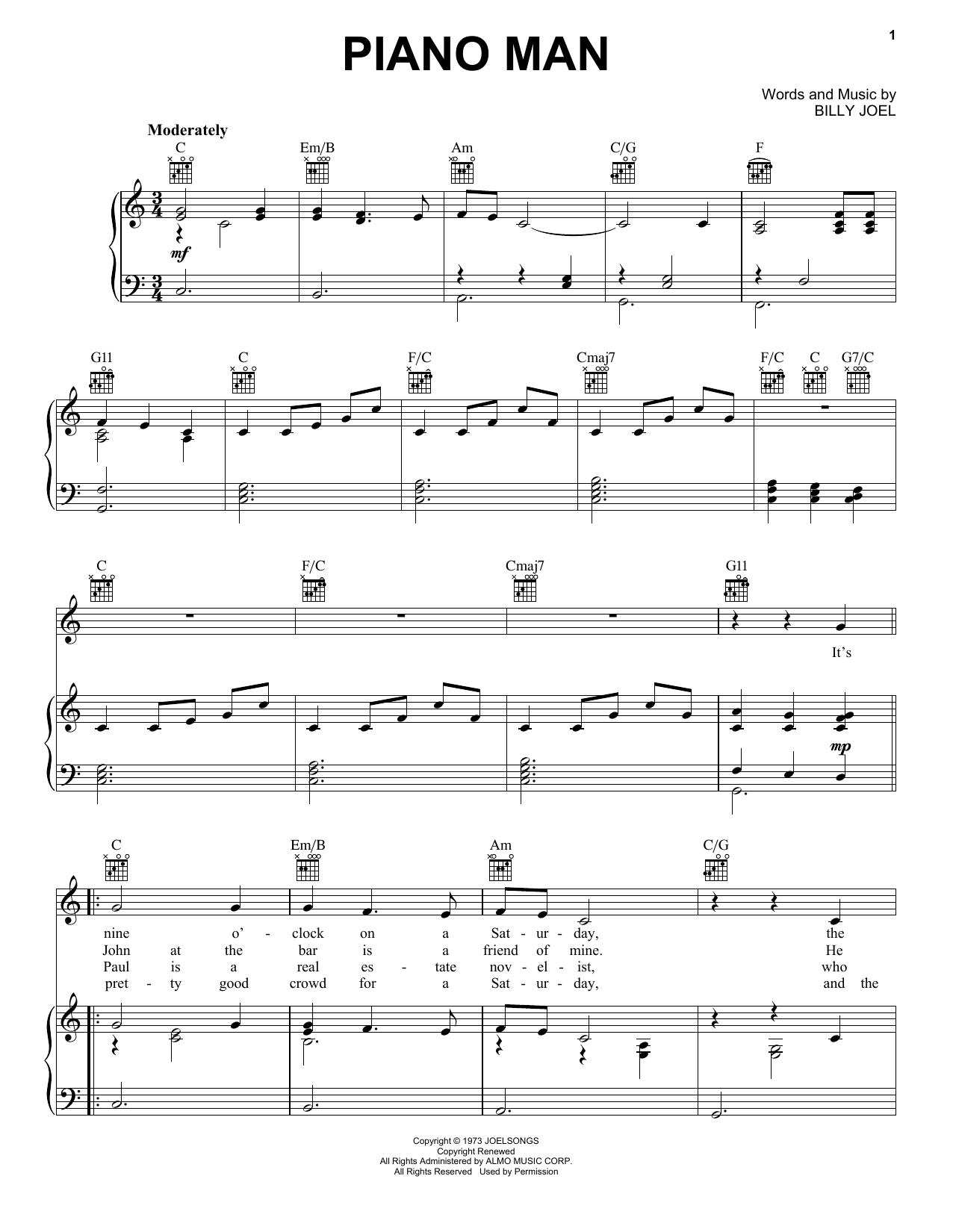 Billy Joel Piano Man sheet music notes and chords. Download Printable PDF.