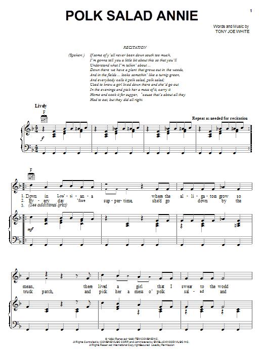 Elvis Presley Polk Salad Annie sheet music notes and chords. Download Printable PDF.