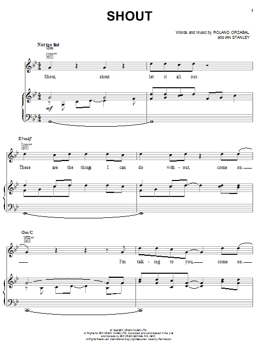 Tears For Fears Shout sheet music notes and chords. Download Printable PDF.
