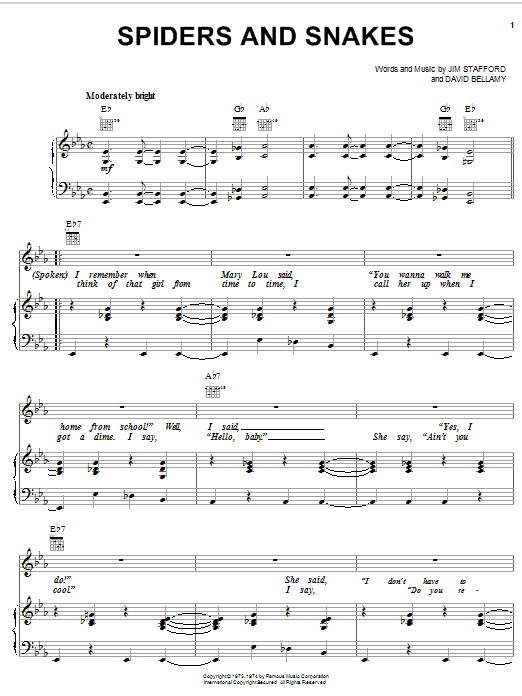 Jim Stafford Spiders And Snakes sheet music notes and chords. Download Printable PDF.