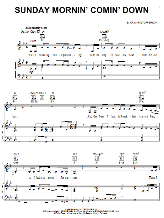 Kris Kristofferson Sunday Mornin' Comin' Down sheet music notes and chords. Download Printable PDF.