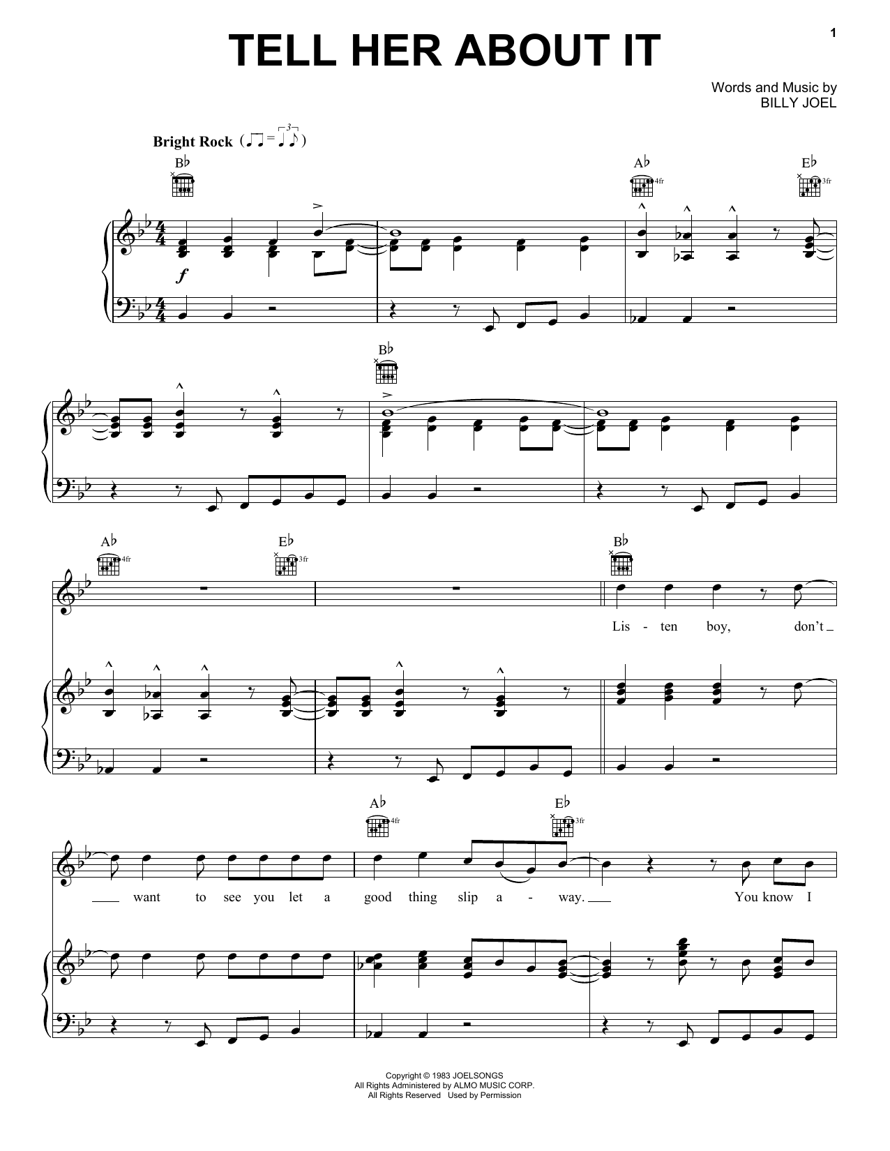 Billy Joel Tell Her About It sheet music notes and chords. Download Printable PDF.
