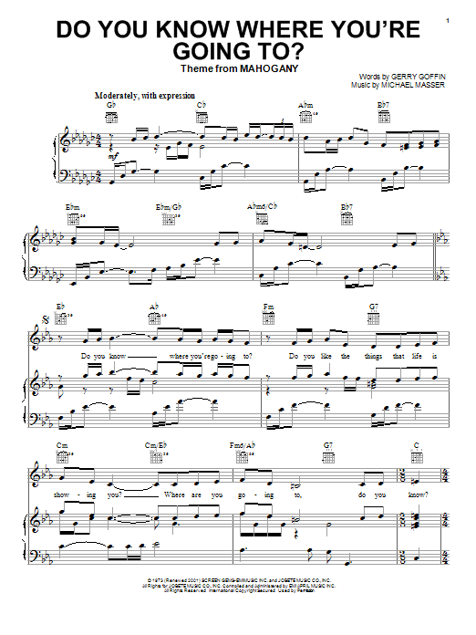 Diana Ross Do You Know Where You're Going To? sheet music notes and chords. Download Printable PDF.