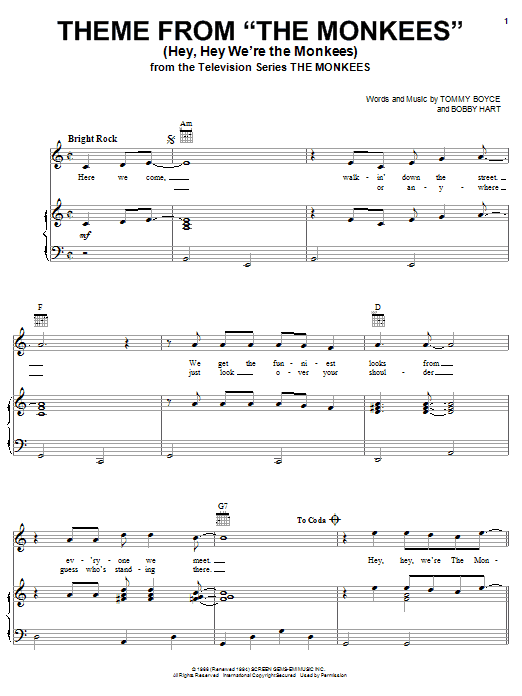 The Monkees Theme from The Monkees (Hey, Hey We're The Monkees) sheet music notes and chords. Download Printable PDF.