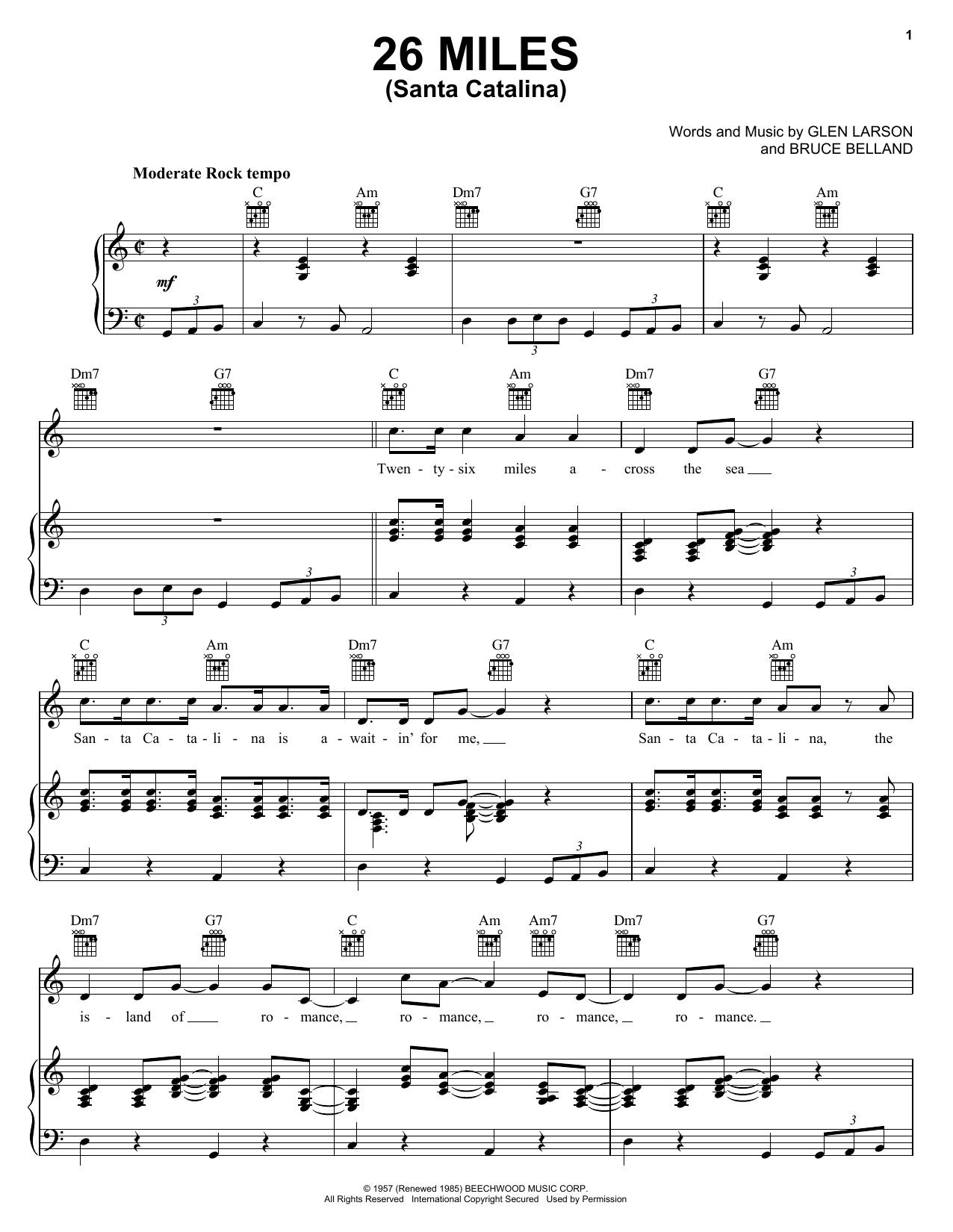 Four Preps 26 Miles (Santa Catalina) sheet music notes and chords. Download Printable PDF.