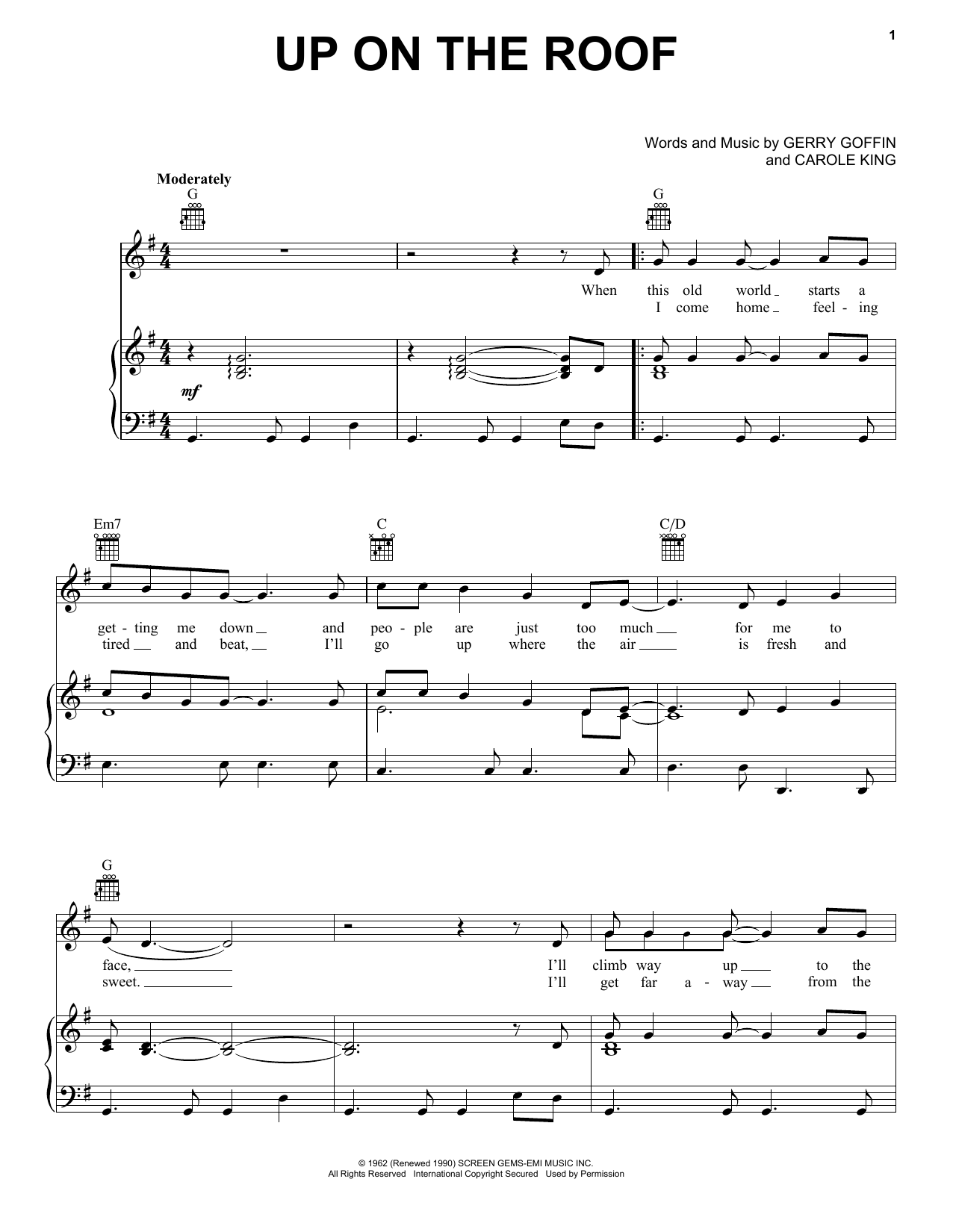 The Drifters Up On The Roof sheet music notes and chords. Download Printable PDF.