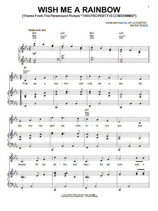 Jay Livingston Wish Me A Rainbow sheet music notes and chords. Download Printable PDF.
