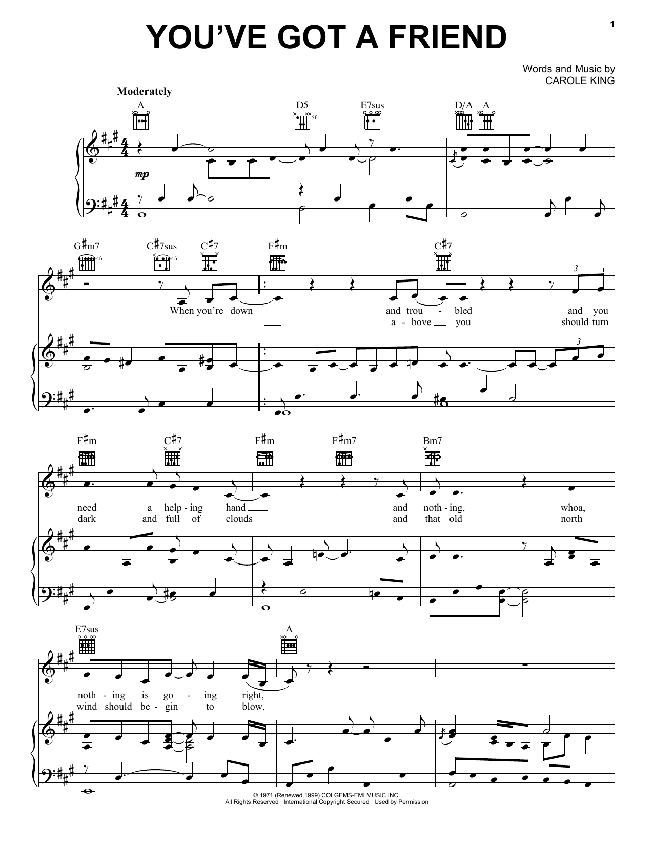 Carole King You've Got A Friend sheet music notes and chords. Download Printable PDF.
