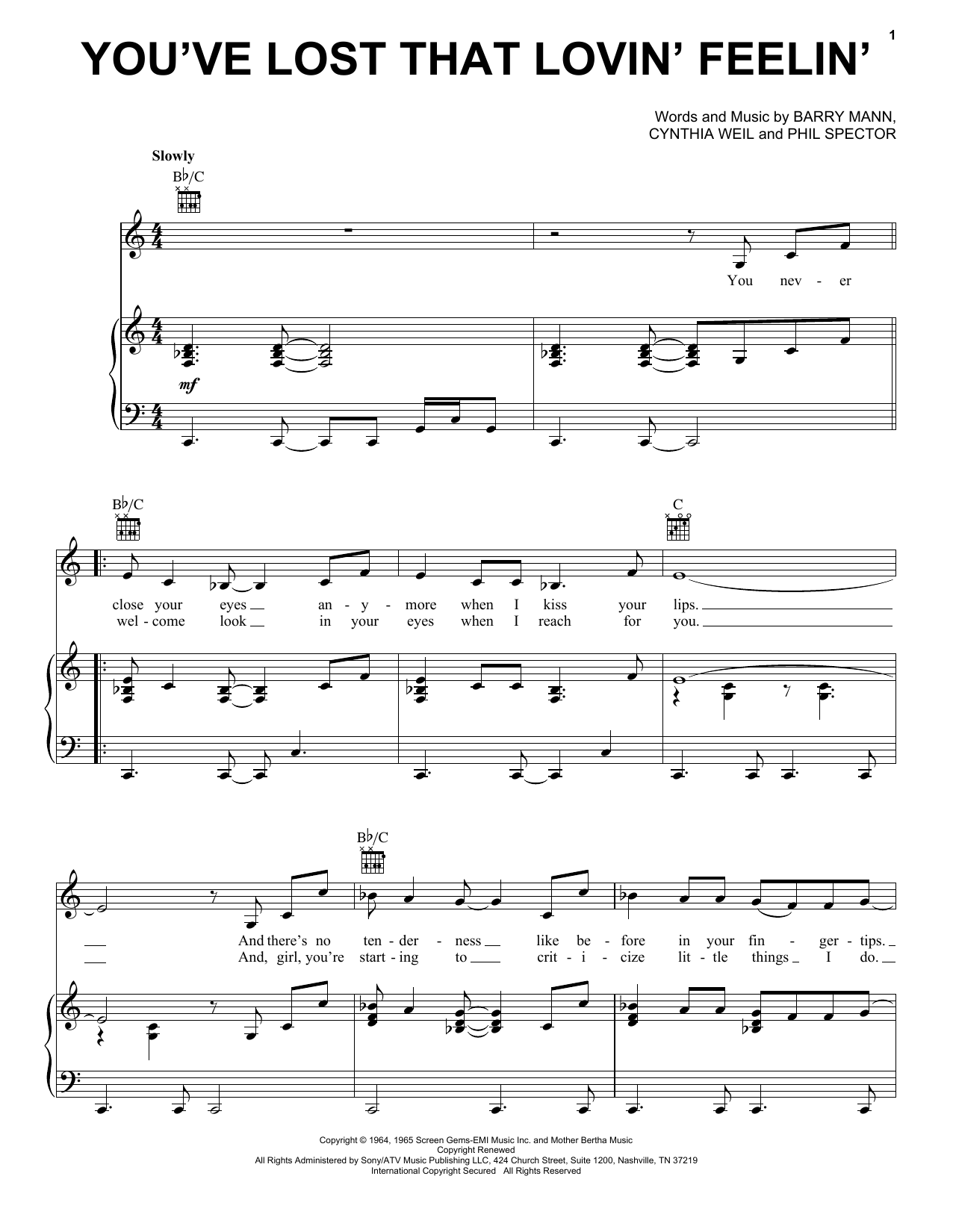 Elvis Presley You've Lost That Lovin' Feelin' sheet music notes and chords. Download Printable PDF.