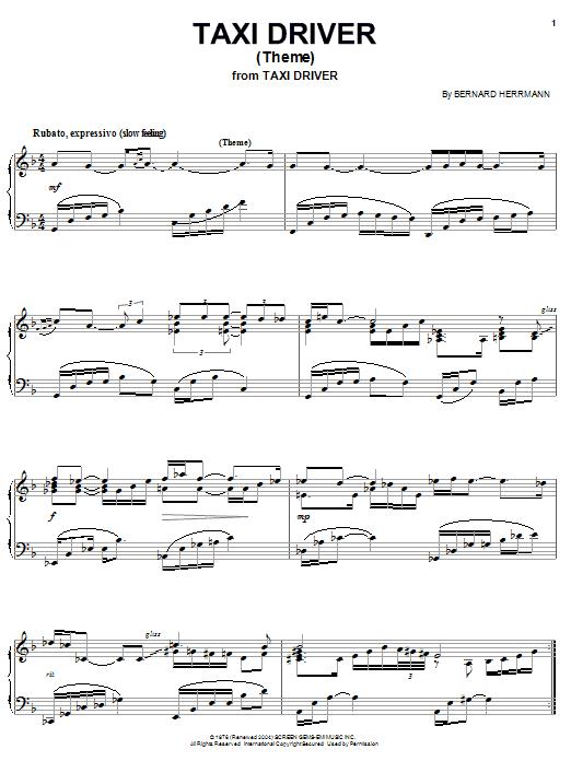 Bernard Herrmann Taxi Driver (Theme) sheet music notes and chords. Download Printable PDF.