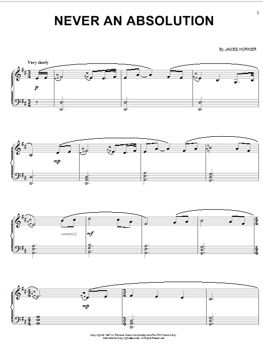 James Horner Never An Absolution (from Titanic) sheet music notes and chords. Download Printable PDF.