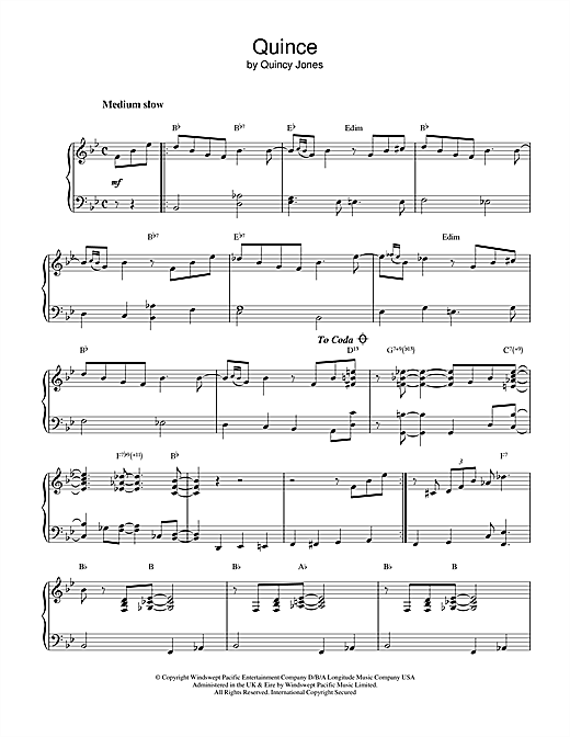 Quincy Jones Quince sheet music notes and chords. Download Printable PDF.