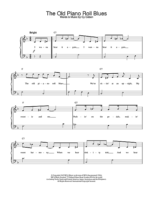 Cy Coben The Old Piano Roll Blues sheet music notes and chords. Download Printable PDF.