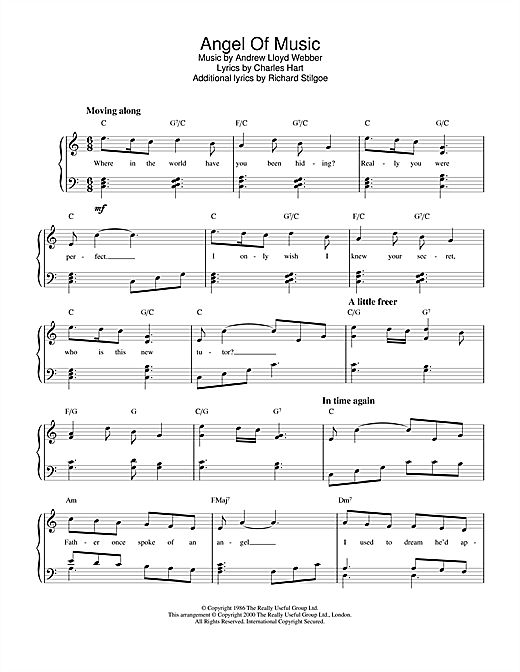 Andrew Lloyd Webber Angel Of Music (from The Phantom Of The Opera) sheet music notes and chords. Download Printable PDF.