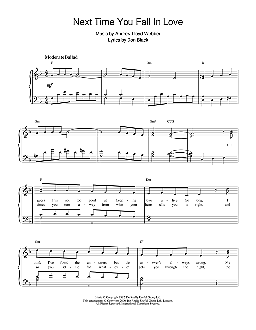 Andrew Lloyd Webber Next Time You Fall In Love (from Starlight Express) sheet music notes and chords. Download Printable PDF.