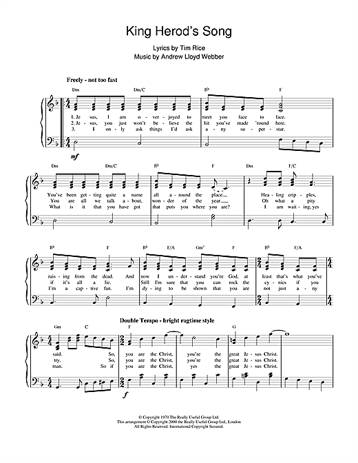 Andrew Lloyd Webber King Herod's Song (from Jesus Christ Superstar) sheet music notes and chords. Download Printable PDF.